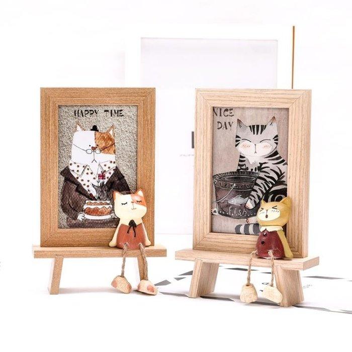 可愛貓咪擺臺相框 6寸創意萌寵木紋像框 『花開物語』