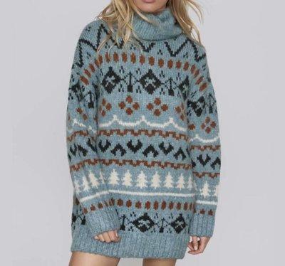 *毛衣*歐美新款冬季提花寬鬆針織衫高領中長款毛衣N8-38457