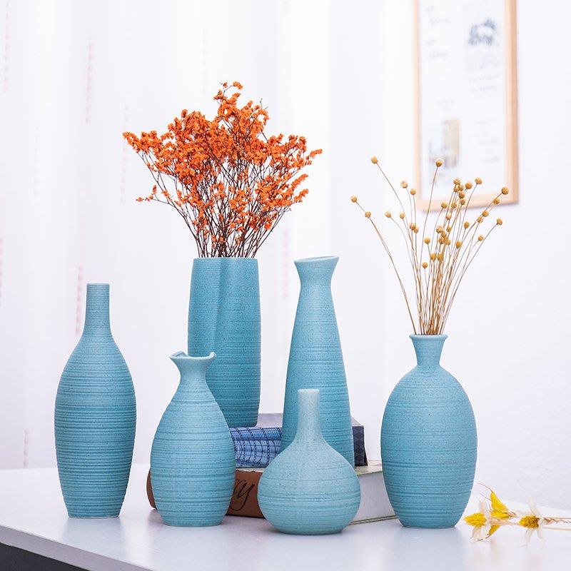 爆款簡約家居藍色地中海客廳桌面小清新花瓶擺件現代干花插花花器日式#簡約#陶瓷#小清新