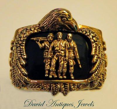 ((天堂鳥)) King of Ring 新品刊登 黑瑪瑙美國退伍軍人和兄弟會戒
