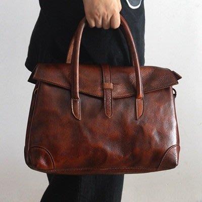 肩背包 真皮手提包-純色手工擦色休閒女包包2色73nf8[獨家進口][巴黎精品]