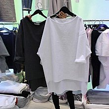 ❤Princess x Shop❤純棉寬鬆長袖t恤DL0903213正韓國連線吊帶褲蕾絲一字領露肩
