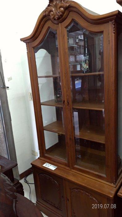 老柚木歐式古董展示櫃/高213公分寬92公分深51公分/賠售讓藏