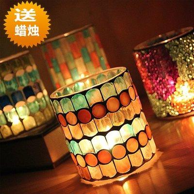 熱銷#歐式彩色直杯形玻璃馬賽克燭臺蠟燭杯 燭光晚餐西餐廳裝飾擺件#燭臺#裝飾