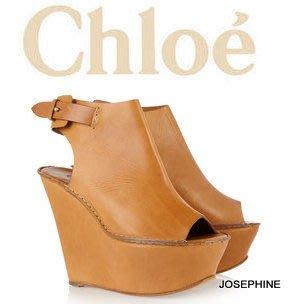 喬瑟芬【CHLOE】下殺 特價$24500含運~2012春夏 Peep-toe leather wedges 楔型 魚口露趾涼鞋 / 踝靴