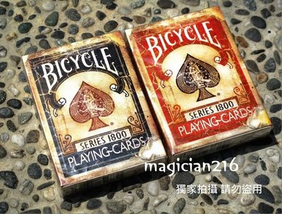 美國Bicycle808撲克牌 Vintage Series1800 古董牌 仿古超舊印刷  ~ 古董牌 全新未拆封