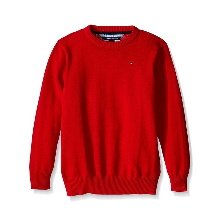 美國百分百【全新真品】Tommy Hilfiger 素面 圓領 針織衫 TH 棉質 線衫 毛衣 紅色 S號 H303
