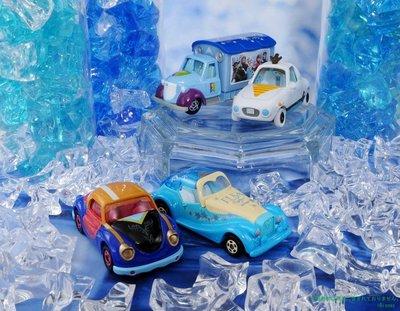 TOMY 多美 迪士尼小汽車 冰雪奇緣 安娜 (4953)+艾莎 (4946)+雪寶(289)+宣傳車 (290)