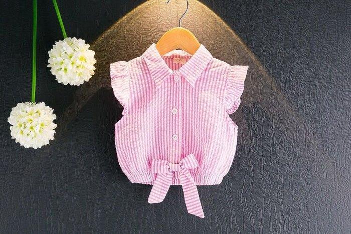 ✿荳荳小舖✿ 現貨⚽ 短袖荷葉滾邊 蝴蝶結 襯衫 粉色