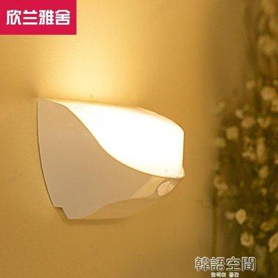 防水USB充電led小夜燈光控聲控臥室小壁燈樓道過道衣櫃人體感應燈