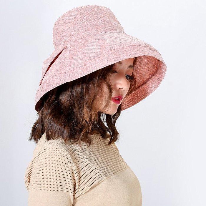 創意 服飾周邊日本純色大沿蝴蝶結棉麻遮陽帽子女夏天防紫外線布帽防曬uv漁夫帽