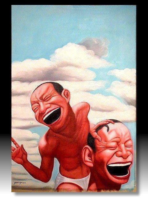 【 金王記拍寶網 】U1227  九O年代當代亞洲藝術家 岳敏君款 手繪油畫一張 ~ 罕見系列作品 稀少 藝術無價~