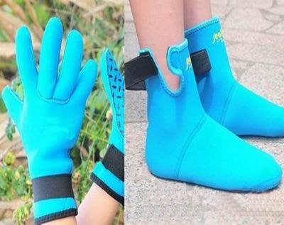【兒童潛水襪套套裝-(手套*1雙+襪套*1雙)/套-1套/組】3mm濕式加厚潛水服材料 掌心腳底防滑點-76004