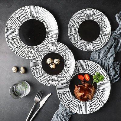 有一間店-工廠定制 陶瓷淺盤西餐盤 家用創意菜盤 歐式黑線條意面牛排盤(規格不同 價格不同)