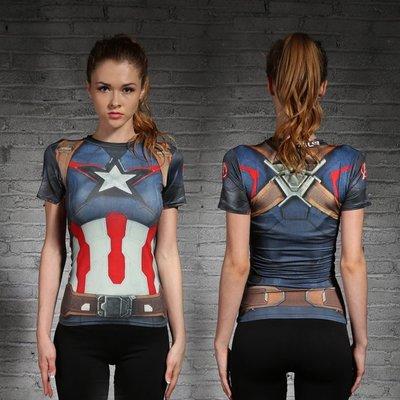 漫威英雄超人緊身衣女美國隊長 運動健身跑步瑜伽訓練彈力緊身衣 速幹吸汗 短T 運動健身服 運動t恤 短袖T恤 短袖女T恤