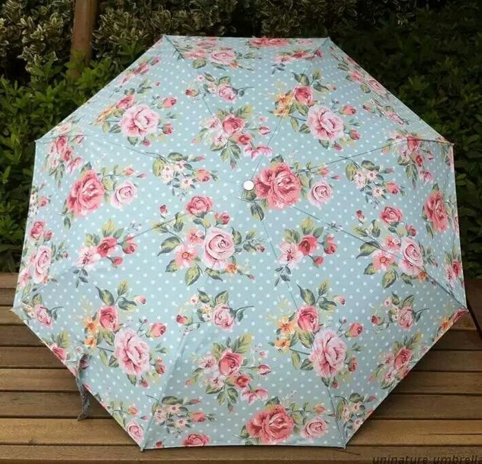 粉紅玫瑰精品屋~田園碎花黒膠晴雨二用傘 玫瑰小碎花~