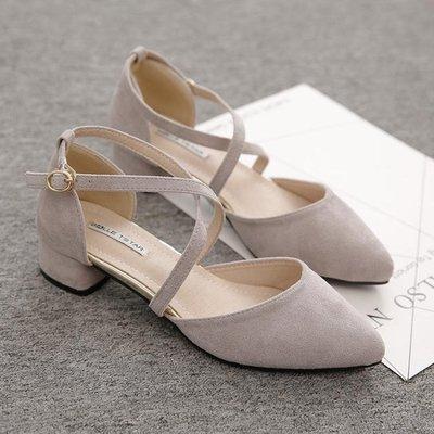 涼鞋女單鞋女尖頭百搭韓版粗跟季高跟鞋中跟