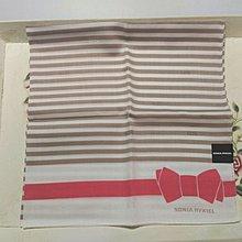 SONIA 條紋 淺卡其  橘紅蝴蝶結 手帕 領巾 日製 日本帶回