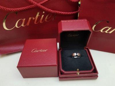 真品Cartier經典款雙V開口型18K白金戒指56號極新淨