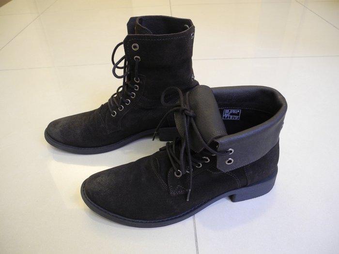 義大利品牌STEFANOROSSI 咖啡色麂皮可反摺繫帶 二用短靴 us7號/25號 /40號 帥氣二穿短靴