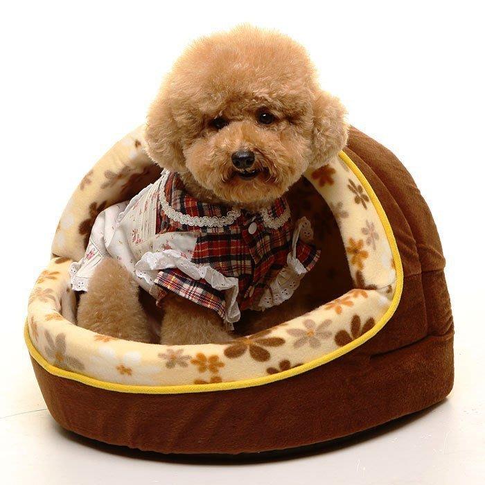 《葳爾登》開口笑絨毛寵物床耐抓耐咬【附贈活動床墊】寵物墊貓窩狗窩狗屋睡床絨毛寵物窩寵物的家1202咖啡色M