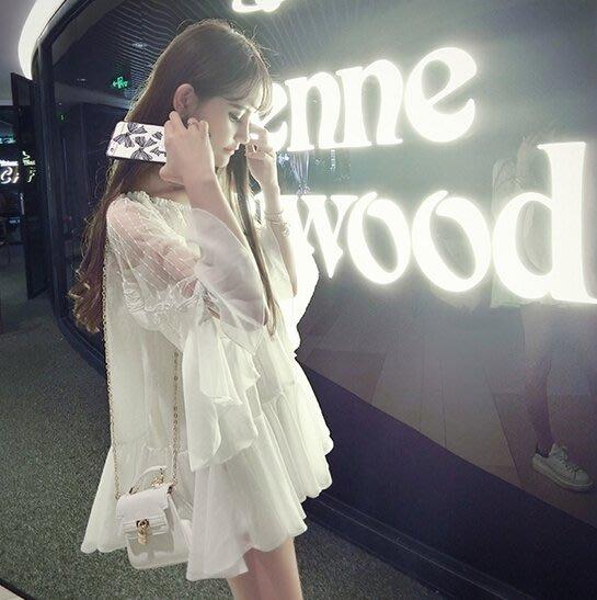 ❤Shinena 千奈公主❤  Hanagirl 韓國 ✈ 甜美款 小露香肩蕾絲花邊多層次荷葉雪紡衫 【配吊帶 兩件套】