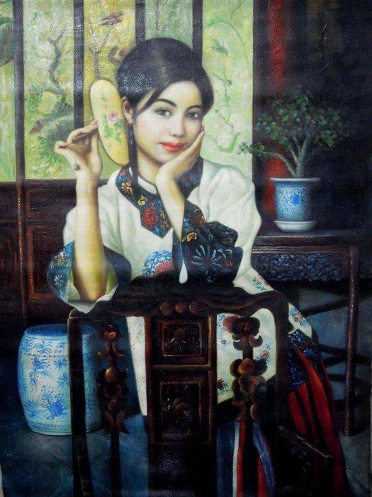 油畫清朝仕女圖-法利堂-直購價30000元.保證真品