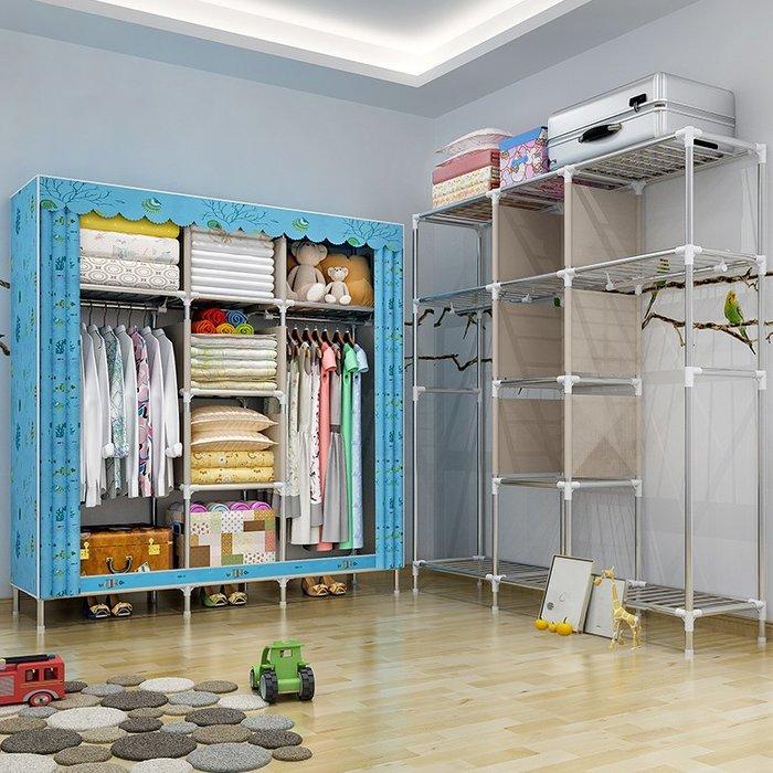 居家 置物架 鞋架 收納架 簡約 創意 非實木布衣柜大號遮光布簡易衣柜鋼管加粗加固25MM雙人衣櫥
