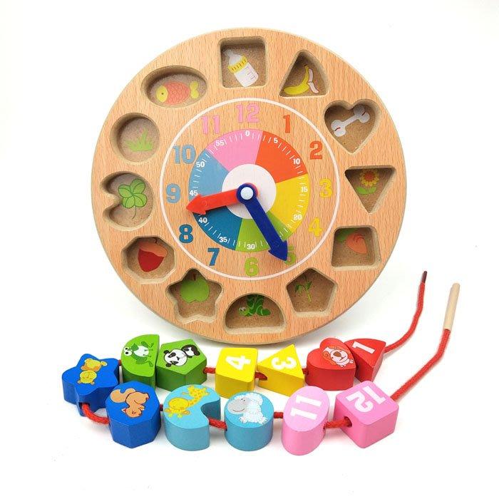 5Cgo【樂趣購】563142199965 兒童玩具創意時鍾串珠穿線早教益智早教玩具男孩女寶寶穿繩智力玩具1-6周歲幼兒