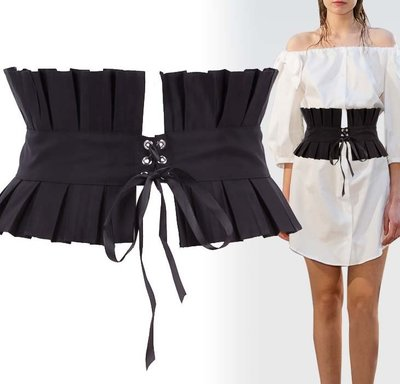 【小p包鋪】腰封綁帶 夏季裝飾連衣裙襯衫寬腰帶 復古束腰 時尚百搭黑色杏色DL1095