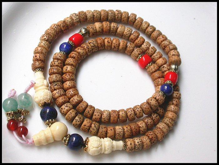 【雅之賞|藏傳|佛教文物】 *特賣* 天然高密老籽108星月菩提 ( 8mm ) 108顆佛珠~Q1446
