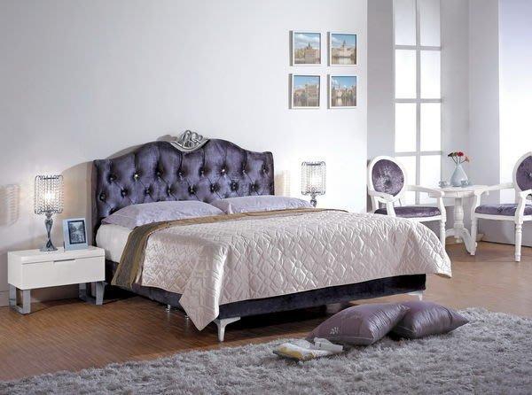 【龍來傢俱】16A-格蘭德紫色絨布水鑽5尺雙人床~滿5000元,大台北地區免運費~