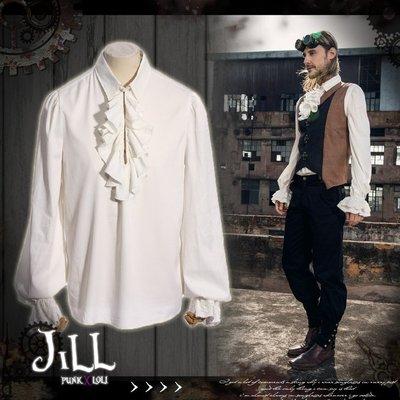Oo吉兒oO榮耀的那一日歐洲貴族風蕾絲拼接設計荷葉領襯衫 維多利亞工業革命蒸汽龐克STEAMPUNK【JRSPM004】