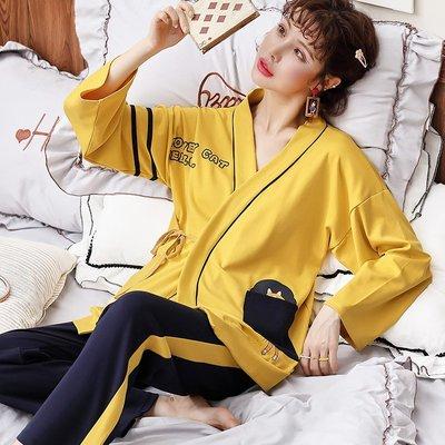 【星語】和服睡衣女秋季長袖純棉黃色小狗學生家居服女套裝春夏空調房冬天A22