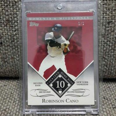 2007 ROBINSON CANO 紐約洋基隊全球限量1/1棒球卡