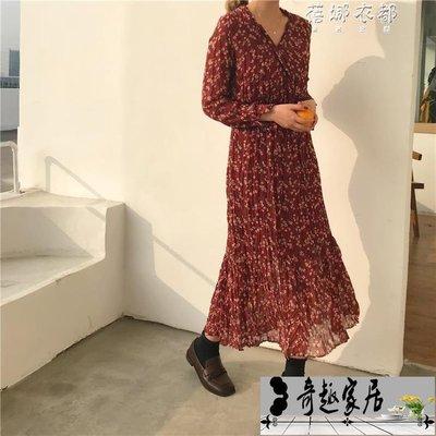 紅色雪紡連身裙女長袖韓版V領復古碎花裙學生打底中長款裙子【奇趣百貨】