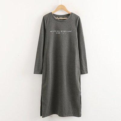 原單小確幸~設計師 自然垂墜彈性休閒字母長版洋裝 M-L三色//現貨特價399 原價1500