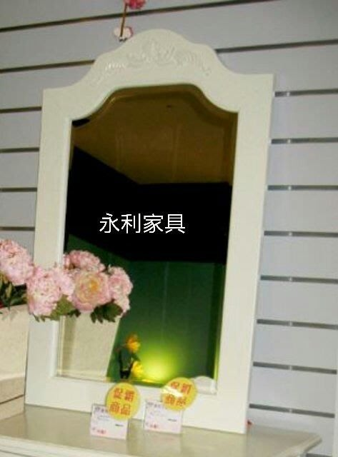 古典鄉村風白色雕刻壁鏡 掛鏡 壁掛鏡