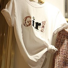 bibi 韓國連線 正韓【 BV3279  】 釘珠拼布字母圖印短袖T上衣 *特價