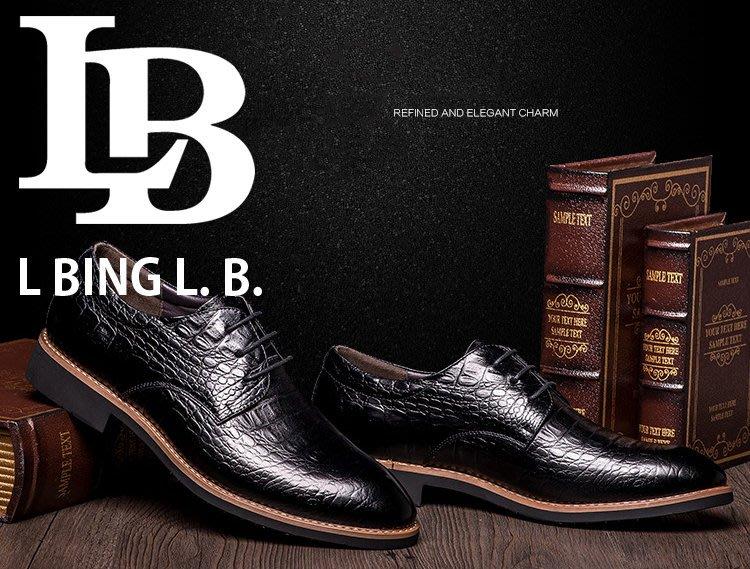 『老兵牛仔』CK-8260新款尖頭商務繫帶正裝皮鞋/頭層牛皮/時尚/彈力/耐摩/個性