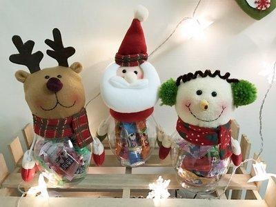 聖誕節 透明 糖果罐 耶誕糖果罐 禮物罐 聖誕裝飾品 雪人 聖誕老人 麋鹿 16【M110010】塔克玩具