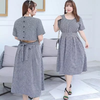 ✿plump girl 氣質✿中大尺碼女裝孕婦裝格子連衣裙甜美減齡女裙1342