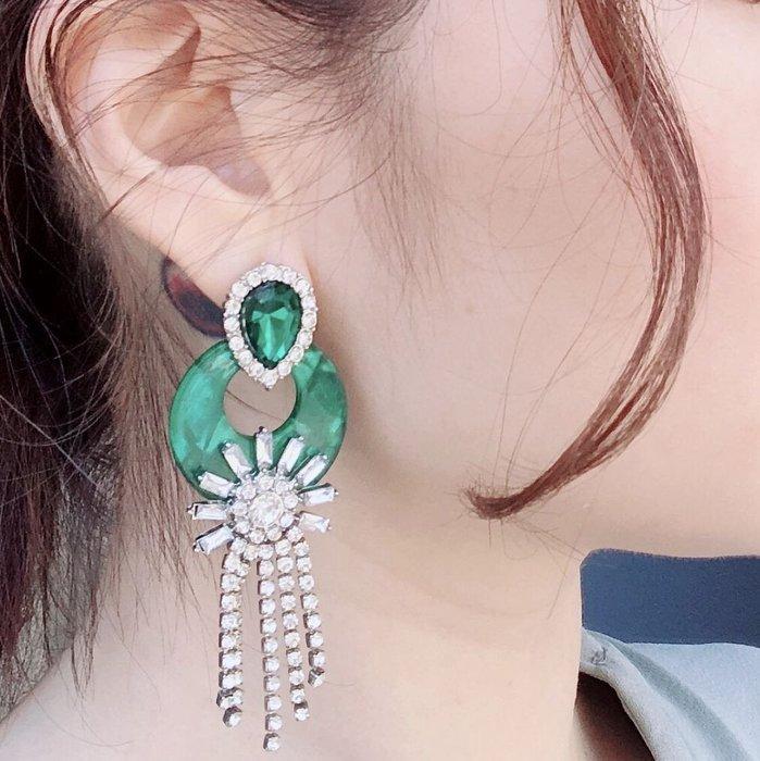 SEYES {韓國空運} 復古華麗歐式時尚仿寶石祖母綠水鑽流蘇耳環
