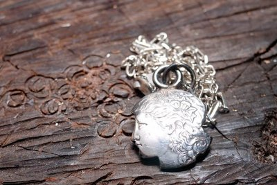 Dreamstation皮革鞄研所,美國One dollar銀幣自由女神造型項鍊Silver necklace 嘻皮,哈雷,重機