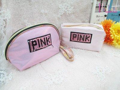 ☆[Hankaro]☆歐美流行爆款亮片字母粉色化妝包