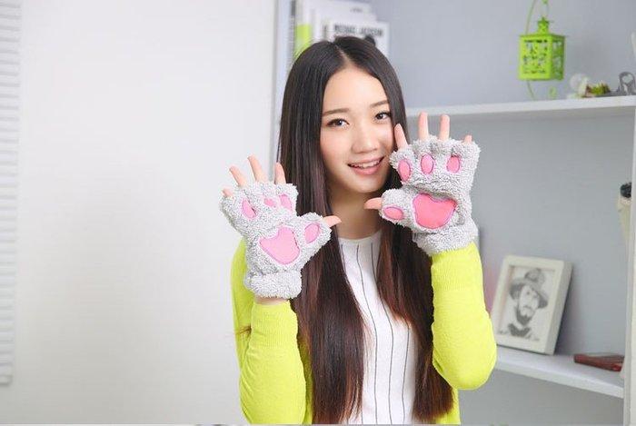 貓爪 半截可愛 漏手指加厚熊掌手套 冬季半指 草莓熊雜貨店