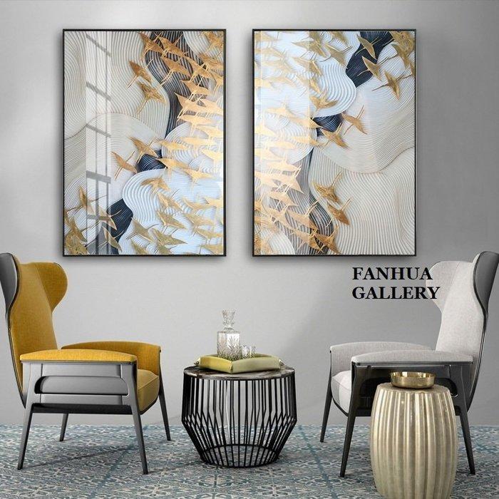 C - R - A - Z - Y - T - O - W - N 金色飛鳥抽象裝飾畫客廳兩聯掛畫有框畫客製畫樣品屋掛畫