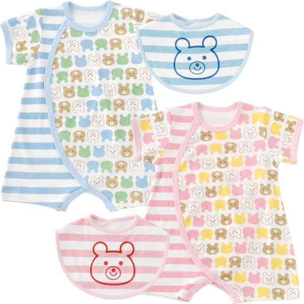 *Dou Dou House*日本進口童裝-小熊短袖連身衣+圍兜兜--藍色-Size:60-70 (現貨)