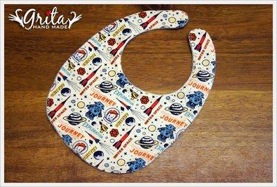 ♥grita's handmade♥純棉手作嬰幼兒圍兜兜/領巾/口水巾/三角巾/彌月禮—太空機器人與男孩