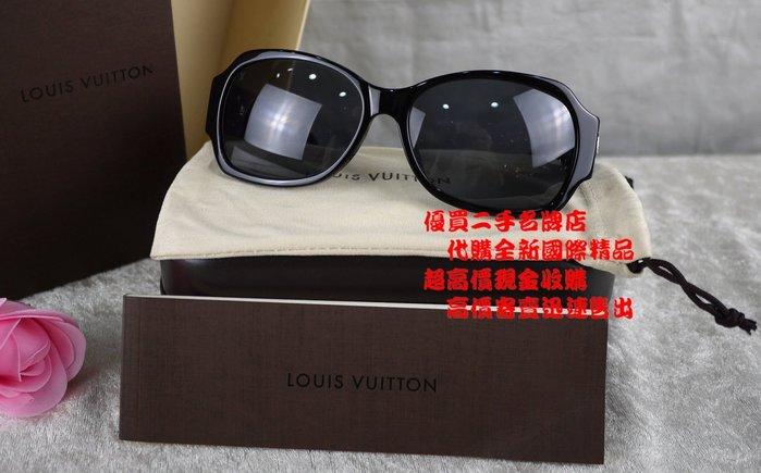優買二手精品名牌店 LV 經典 熱門款 水鑽 LOGO 手工製造 義大利 大膠框 太陽眼鏡 墨鏡